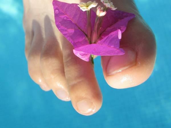 dita piede fiore viola