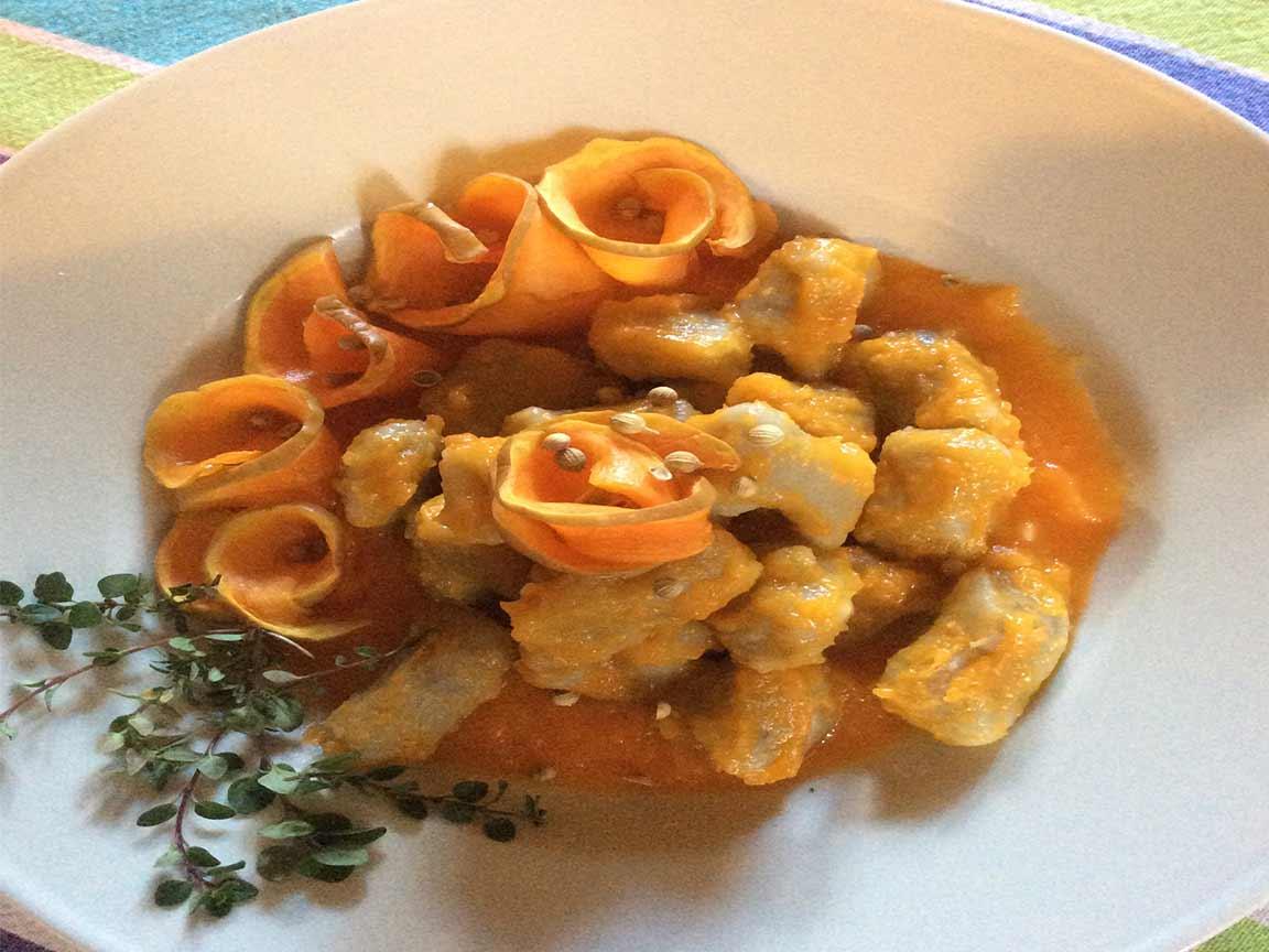 gnocchi di patate viola con zucca